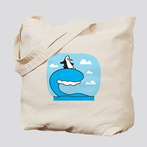 Silly Surfing Penguin Tote Bag