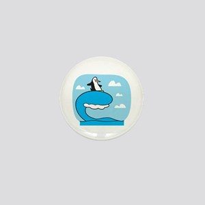 Silly Surfing Penguin Mini Button