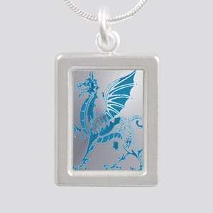Blue And Silver Dragon Silver Portrait Necklace