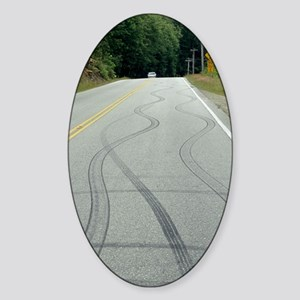 Skid marks on a road Sticker (Oval)
