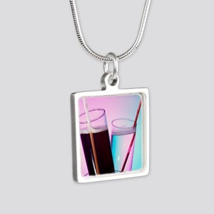 Fizzy drinks Silver Square Necklace