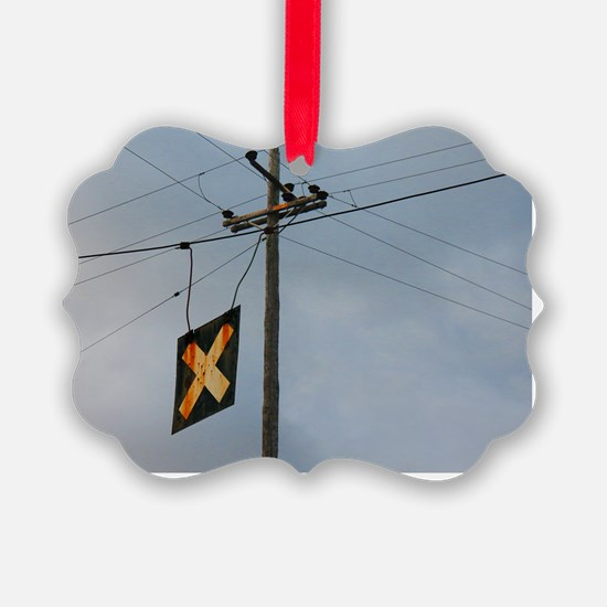 Telephone Pole and Train Crossing Ornament