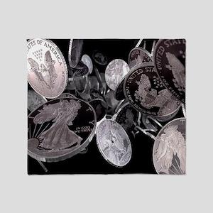 Silver coins, computer artwork Throw Blanket