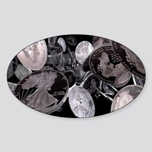 Silver coins, computer artwork Sticker (Oval)
