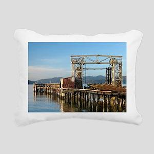 Railroad Ferry Dock Rectangular Canvas Pillow
