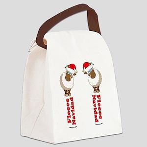 FleeceFlipFlopsWhite-b Canvas Lunch Bag