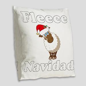 Fleece18x18whiteTRANS Burlap Throw Pillow