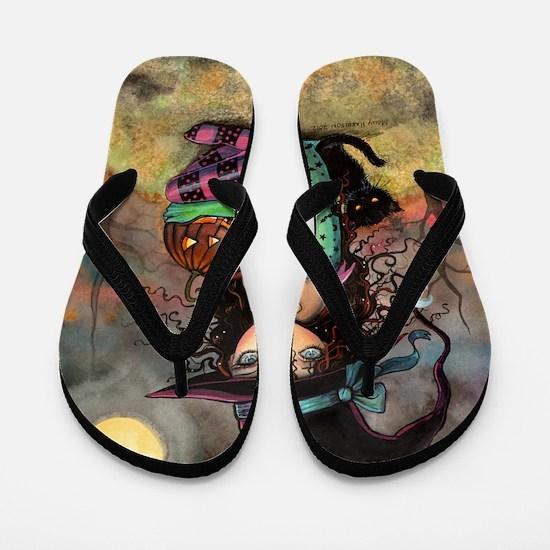Halloween Hill Flip Flops