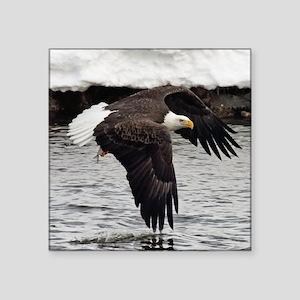 """Eagle, Fish in Talons Square Sticker 3"""" x 3"""""""
