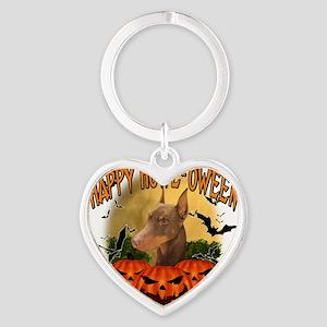Happy Halloween Doberman Heart Keychain
