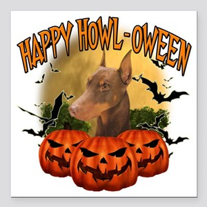 "Happy Halloween Doberman Square Car Magnet 3"" x 3"""