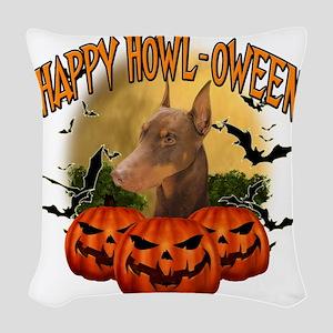 Happy Halloween Doberman Woven Throw Pillow