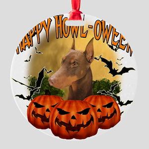 Happy Halloween Doberman Round Ornament