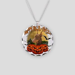 Happy Halloween Doberman Necklace Circle Charm