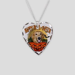 Happy Halloween Golden Retrie Necklace Heart Charm