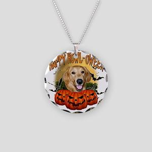 Happy Halloween Golden Retri Necklace Circle Charm