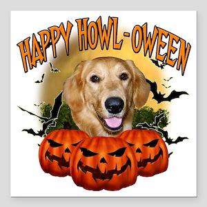 "Happy Halloween Golden R Square Car Magnet 3"" x 3"""