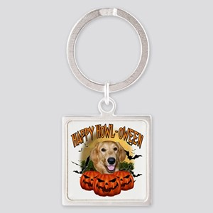 Happy Halloween Golden Retriever Square Keychain