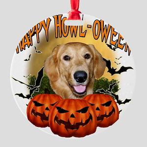 Happy Halloween Golden Retriever Round Ornament