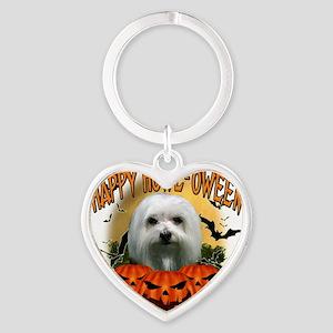 Happy Halloween Maltese Heart Keychain