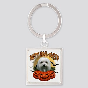 Happy Halloween Maltese Square Keychain