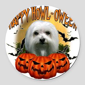 Happy Halloween Maltese Round Car Magnet
