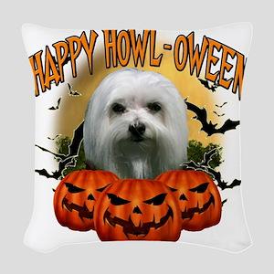 Happy Halloween Maltese Woven Throw Pillow