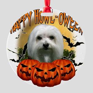 Happy Halloween Maltese Round Ornament