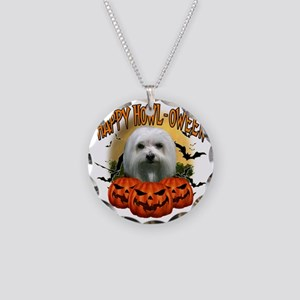 Happy Halloween Maltese Necklace Circle Charm