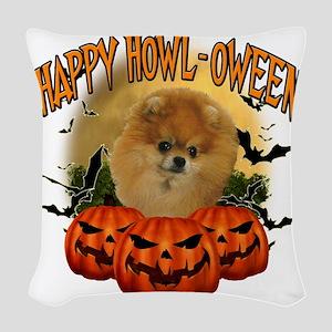 Happy Halloween Pomeranian Woven Throw Pillow