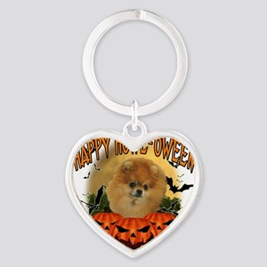 Happy Halloween Pomeranian Heart Keychain