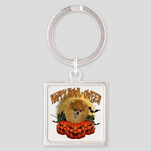 Happy Halloween Pomeranian Square Keychain