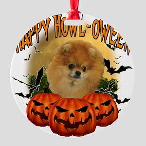 Happy Halloween Pomeranian Round Ornament