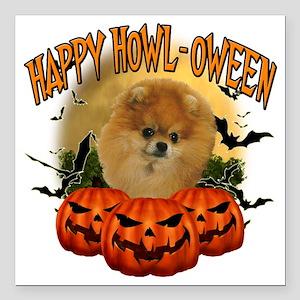 "Happy Halloween Pomerani Square Car Magnet 3"" x 3"""