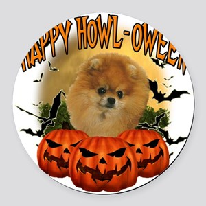 Happy Halloween Pomeranian Round Car Magnet