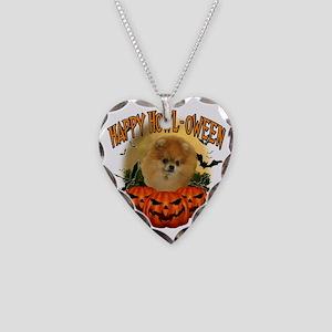Happy Halloween Pomeranian Necklace Heart Charm