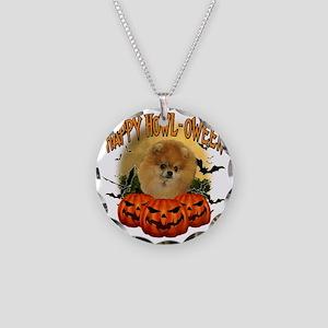 Happy Halloween Pomeranian Necklace Circle Charm