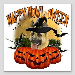 "Happy Halloween Shepherd Square Car Magnet 3"" x 3"""