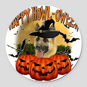 Happy Halloween Shepherd Round Car Magnet