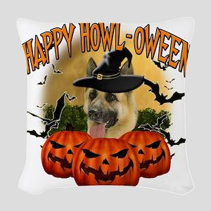 Happy Halloween Shepherd Woven Throw Pillow