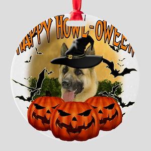 Happy Halloween Shepherd Round Ornament