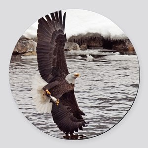 Striking Eagle Round Car Magnet