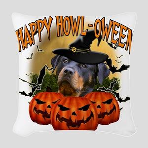 Happy Halloween Rottweiler Woven Throw Pillow