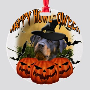 Happy Halloween Rottweiler Round Ornament
