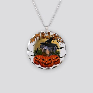 Happy Halloween Rottweiler Necklace Circle Charm