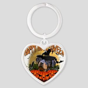 Happy Halloween Rottweiler Heart Keychain