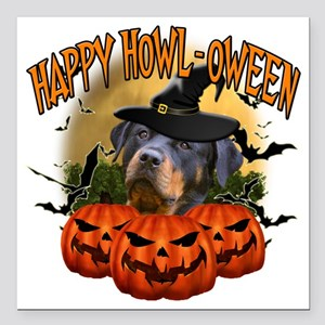 """Happy Halloween Rottweil Square Car Magnet 3"""" x 3"""""""