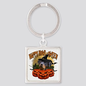 Happy Halloween Rottweiler Square Keychain