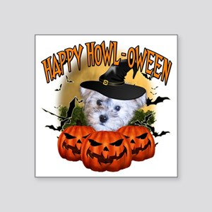 "Happy Halloween Schnoodle Square Sticker 3"" x 3"""
