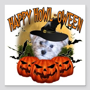 """Happy Halloween Schnoodl Square Car Magnet 3"""" x 3"""""""